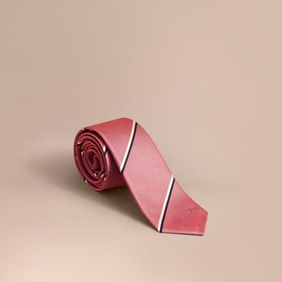 Burberry Slim Cut Striped Silk Tie In Rose Pink