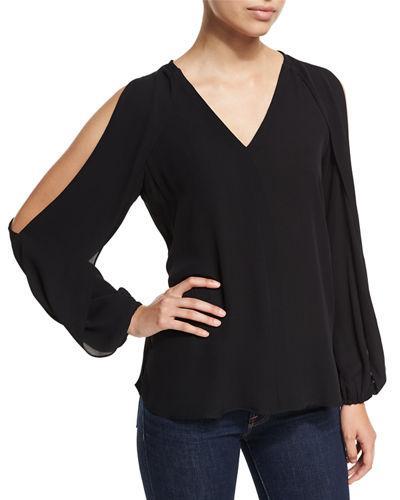 Kobi Halperin Caroline V-neck Split-sleeve Cold-shoulder Blouse In Black
