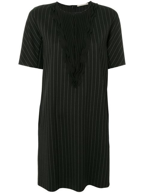 Marco De Vincenzo Pleated Front Striped Dress In Black