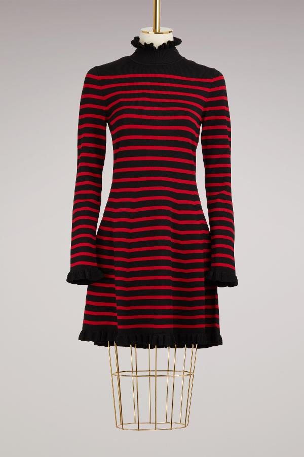 Red Valentino Striped Dress With Ruffles In Nero/lacca