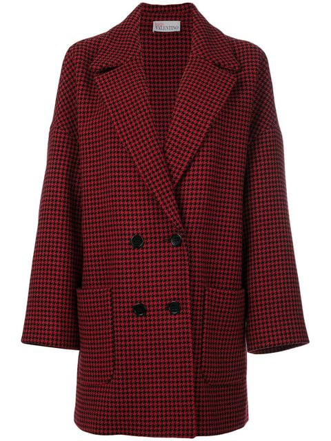 Red Valentino Double-breasted Hound's-tooth Wool-blend Coat In Lacca