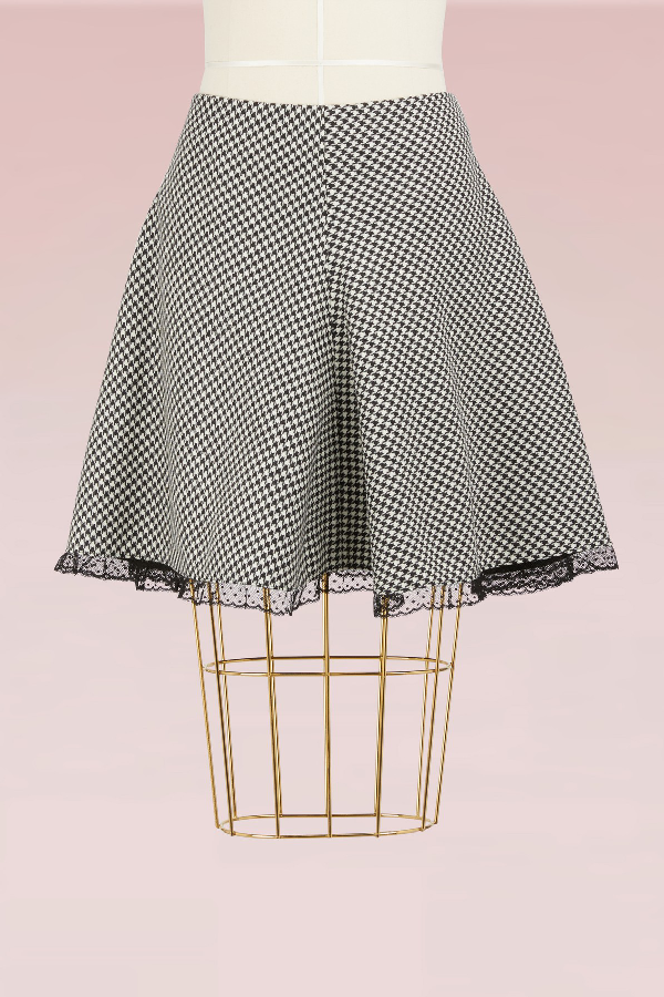 Red Valentino Houndstooth Mini-skirt In Black