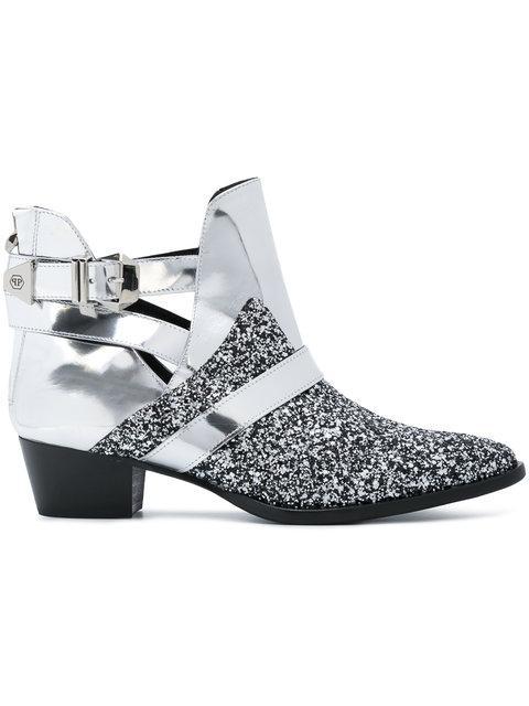 "Philipp Plein Boots Lo-heels Low ""zarina"" In Silver/nickel"