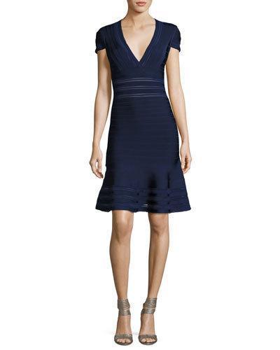 Herve Leger Picot-trim V-neck Bandage Dress In Classic Blue