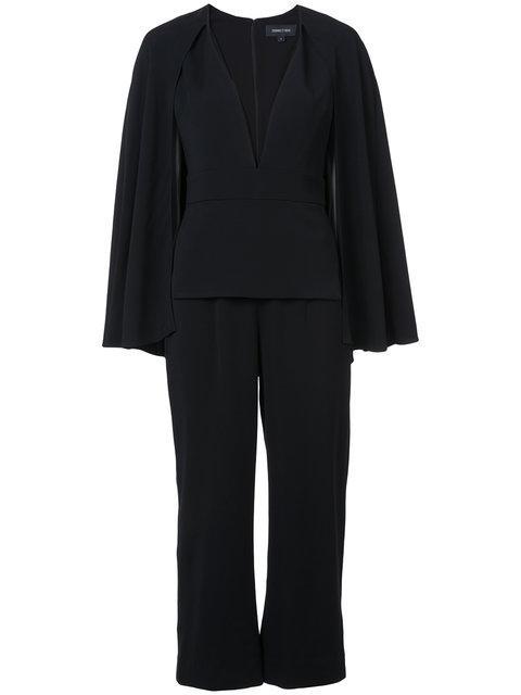 Cushnie Et Ochs Cushnie Long Sleeve Plunge Neck Jumpsuit - Black