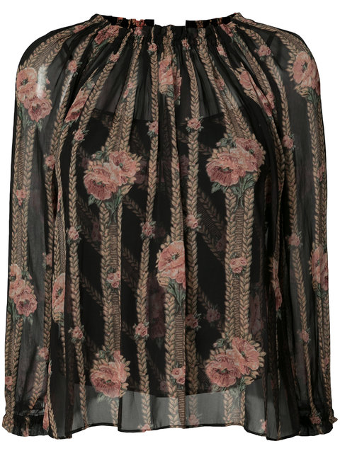 Needle & Thread Embroidered Blouse In Black,floral,stripes