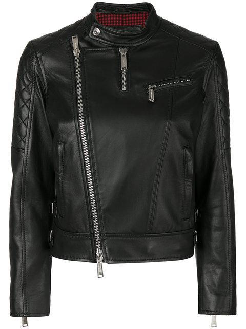 Dsquared2 Collarless Biker Jacket In Nero
