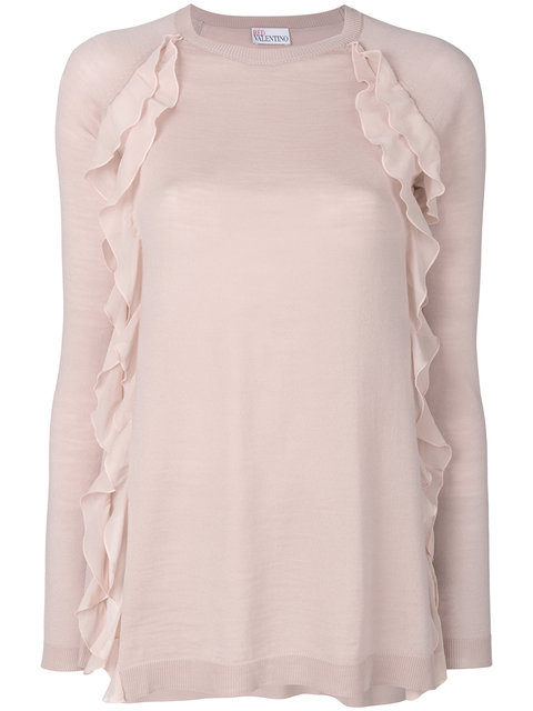 Red Valentino Sweater W/ Silky Ruffle Detail In Neutral Pattern