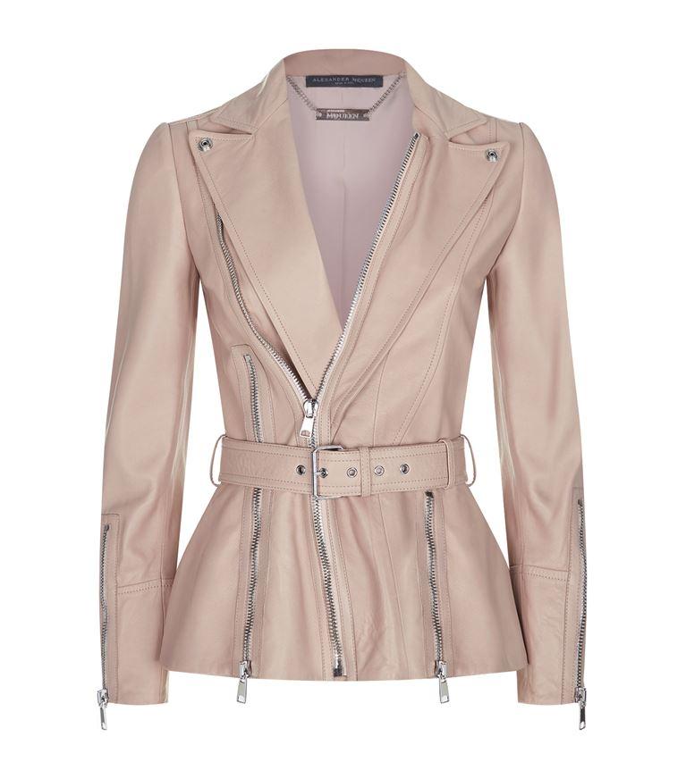 Alexander Mcqueen Zip Up Leather Jacket In Pink