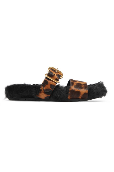 Prada Leopard-Print Calf Hair And Shearling Slides In Black