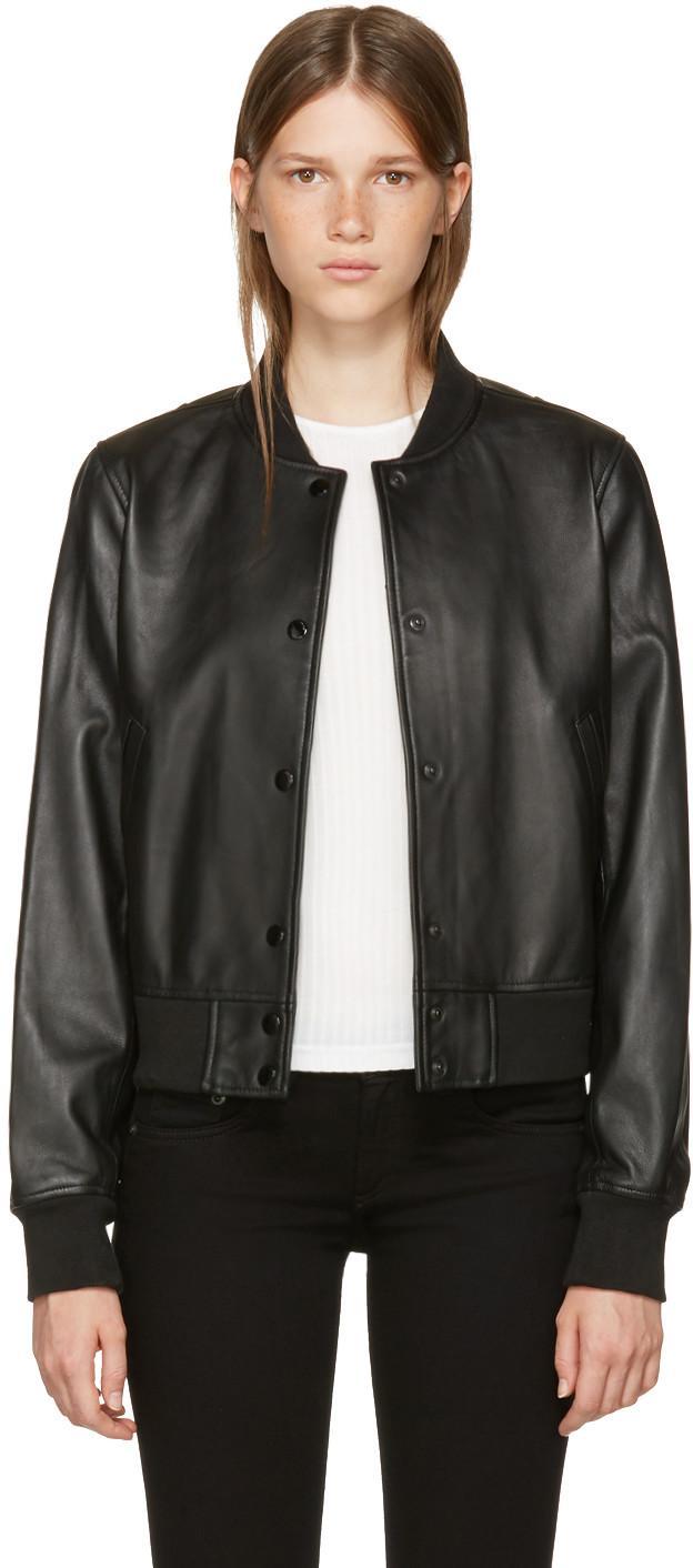 Rag & Bone Rag And Bone Black Leather Cooper Bomber Jacket