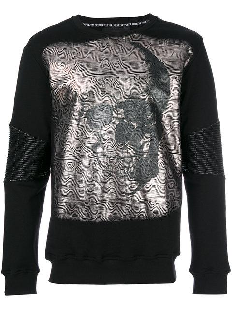 Philipp Plein Metallic Skull Print Top In Black