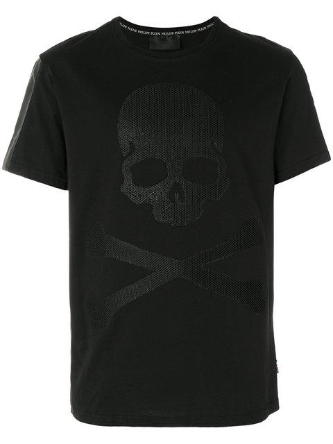 Philipp Plein Skull And Crossbones Waffle Print T-shirt