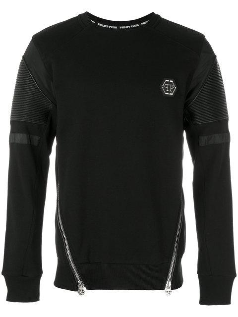 Philipp Plein Zipped Biker Patch Sweatshirt In Black
