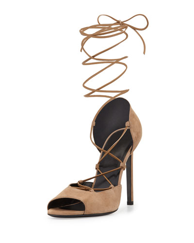 Saint Laurent Kate Suede Lace-up D'orsay Pump, Chamois In Camois