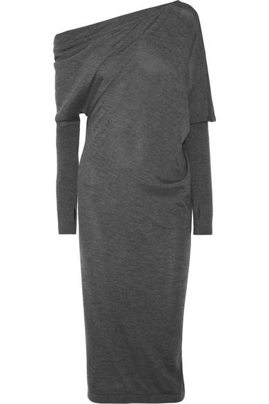Tom Ford One-shoulder Cashmere And Silk-blend Midi Dress In Charcoal