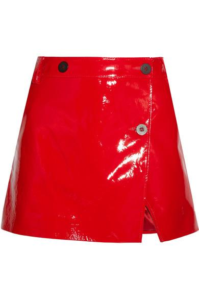 Topshop Unique Patent-leather Wrap Mini Skirt In Red