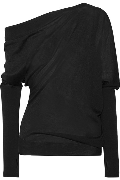 Tom Ford One-shoulder Draped Cashmere And Silk-blend Sweater In Black