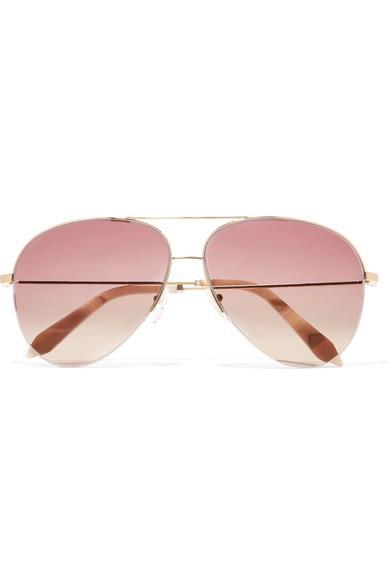 Victoria Beckham Aviator-style Gold-tone Sunglasses In Pink