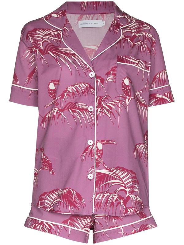 Desmond & Dempsey Bocas Printed Cotton-voile Pajama Set In Lilac
