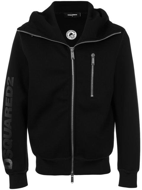 Dsquared2 Logo Zipped Hoodie In Black