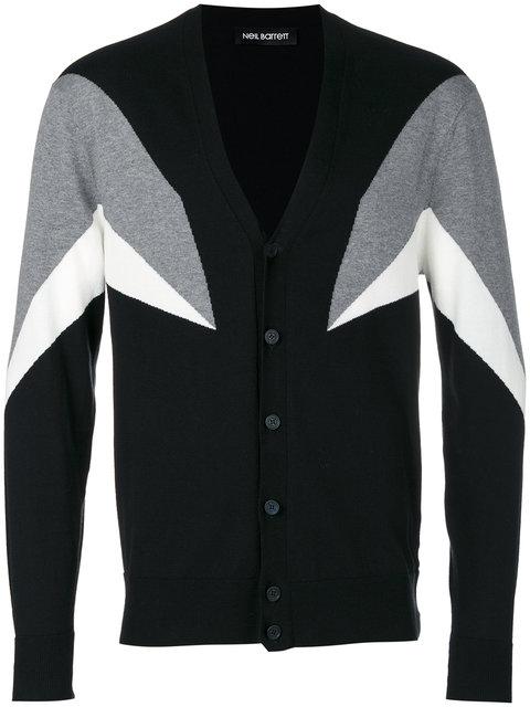 Neil Barrett 'modernist 7' Intarsia Cotton Cardigan