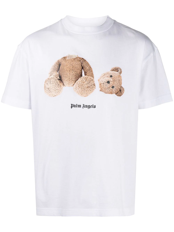 Palm Angels Bear Print Over Cotton Jersey T-shirt In White