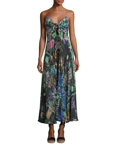 Camilla Sleeveless Tie-front Printed Coverup Maxi Dress In Multi