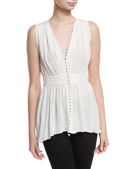 Cinq À Sept Brigit Button-loop Silk Top In White