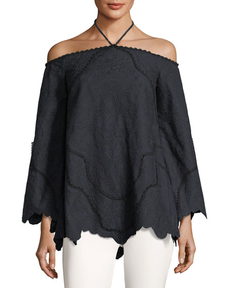 Jonathan Simkhai Embroidered Off-the-shoulder Long-sleeve Blouse In Blue/black