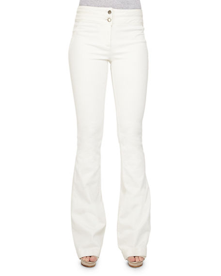 Veronica Beard Flare-leg Dark Stretch Jeans, White