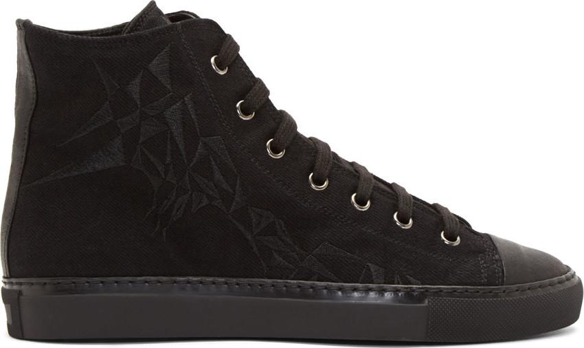 Gareth Pugh Black Prism-Embroidered Baseball Shoes