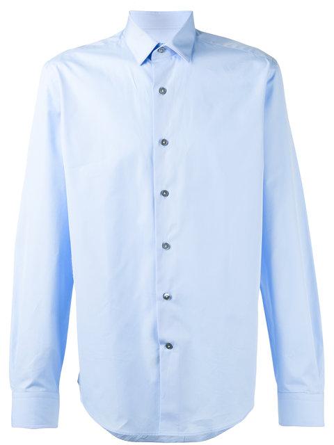 Lanvin Single-cuff Spread-collar Cotton Shirt In Blue