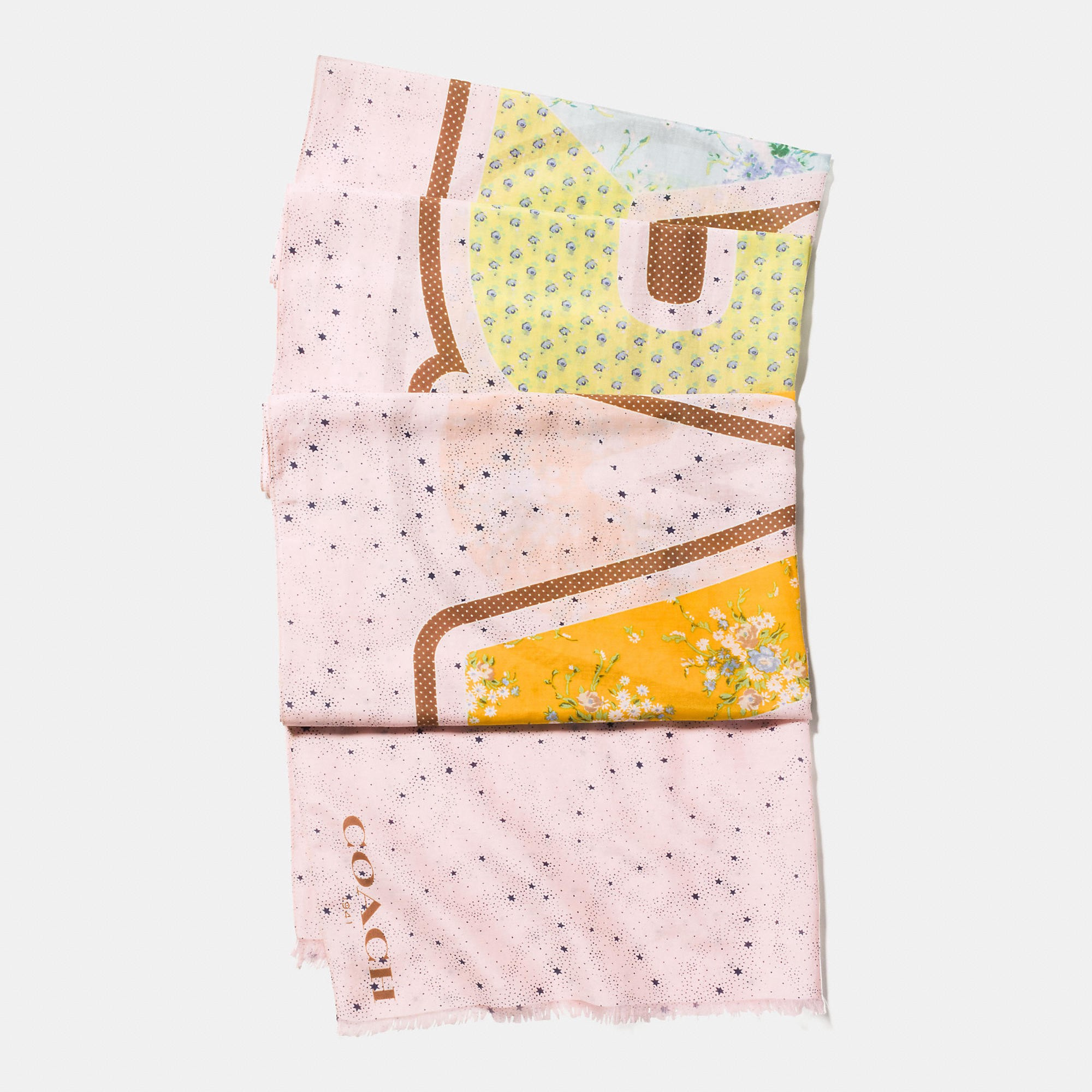 Coach Space Patchwork Oblong In Light Pink