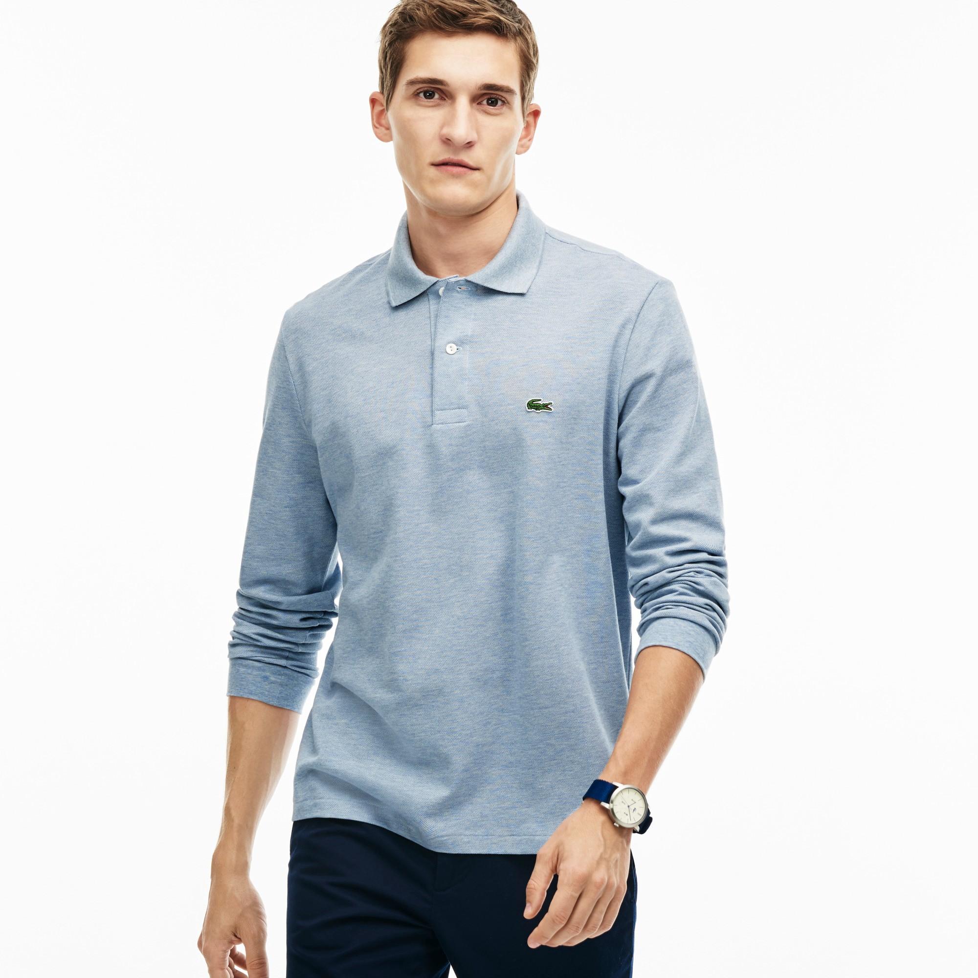 Men's Long Sleeve Chine Piqué Polo Shirt - Celestial Chine 99h