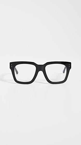 Linda Farrow Luxe Max Glasses In Black/yellow Gold/optical