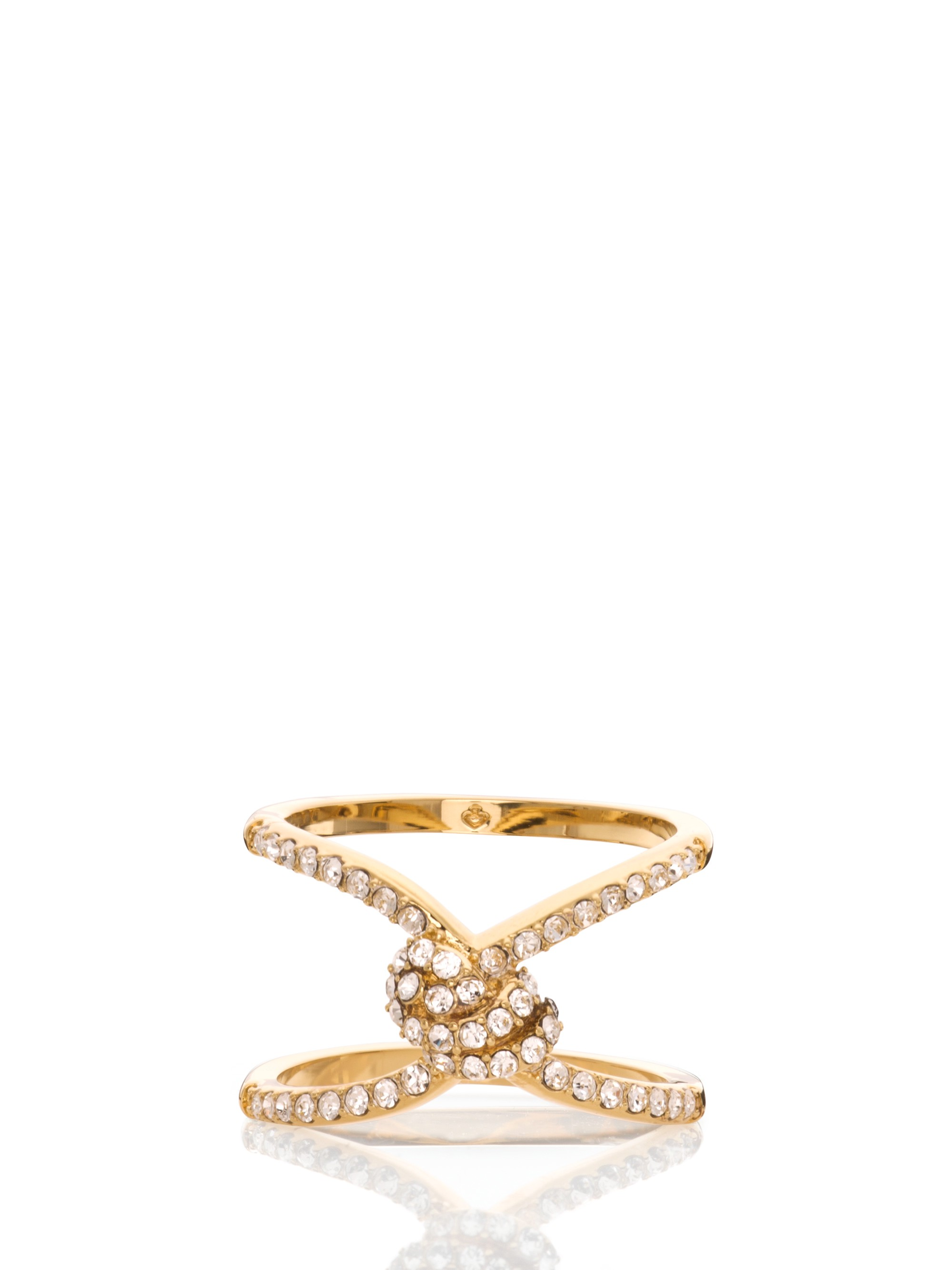 Kate Spade Infinity & Beyond Pave Knot Ring In Clear/gold