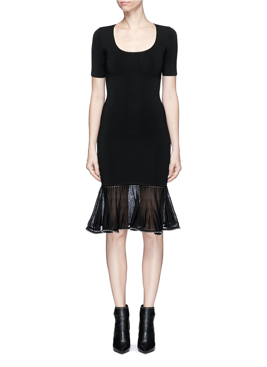 Alexander Wang Ball Chain Ruffle Hem Ponte Knit Dress In Black