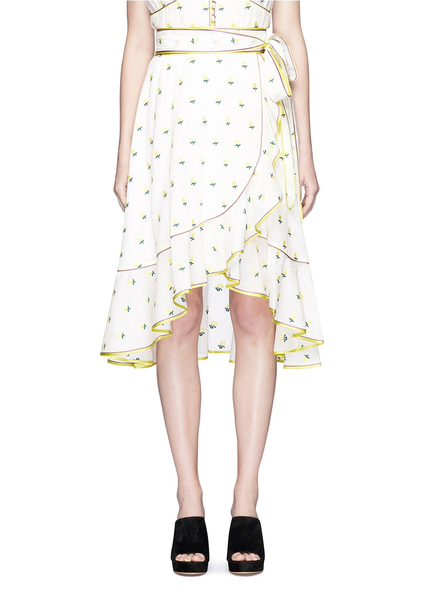 Marc Jacobs Rose Fil CoupÉ Waist Tie Flutter Wrap Skirt