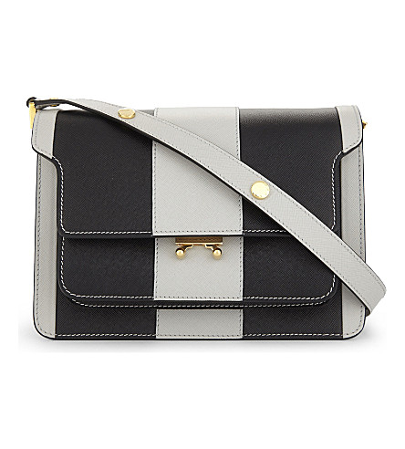 Marni Saffiano Leather Cross-body Bag In Pelican Black