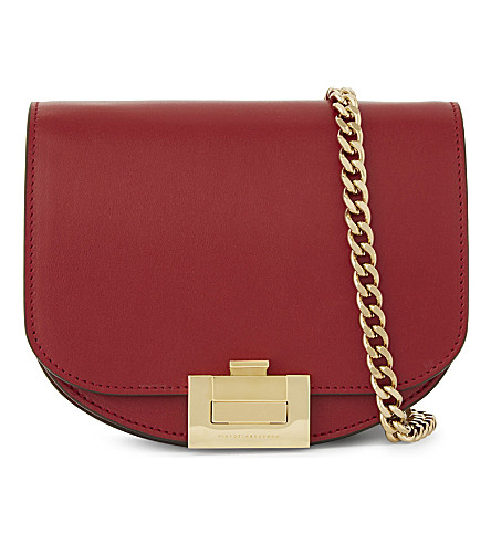 Victoria Beckham Nano Leather Box Cross-body Bag In Calf Ruby Red