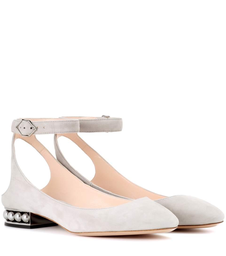 Nicholas Kirkwood Lola Pearl Suede Ankle Strap Ballerinas In Grey