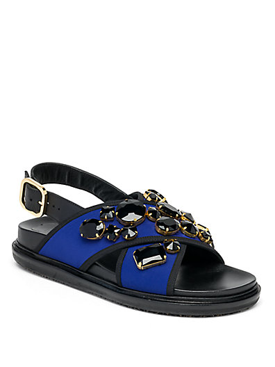 Marni Jeweled Fussbett Slingback Sandals In Electric Blue