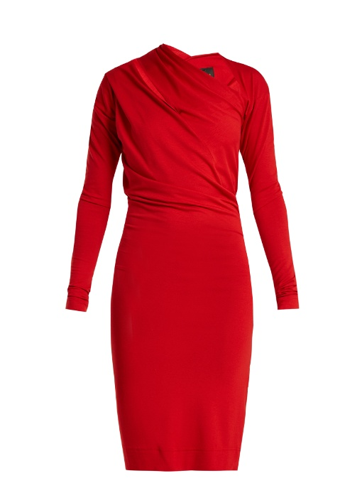 Vivienne Westwood Anglomania Timans Asymmetric Jersey Dress In Red
