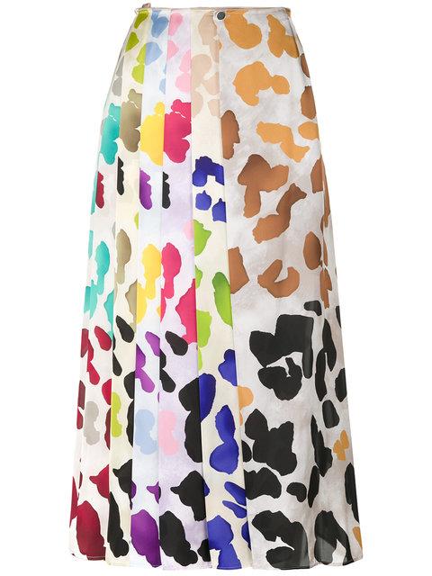 Marco De Vincenzo Painterly-print Satin Midi Skirt In Ivory Multi