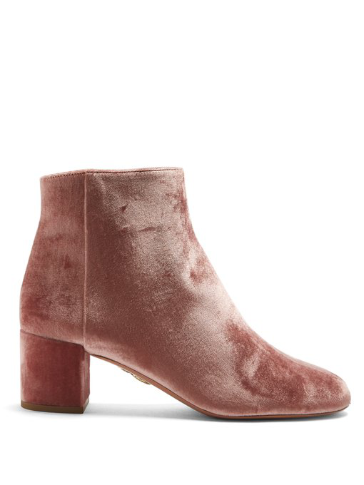 Aquazzura Brooklyn 65 Velvet Ankle Boots In Pink