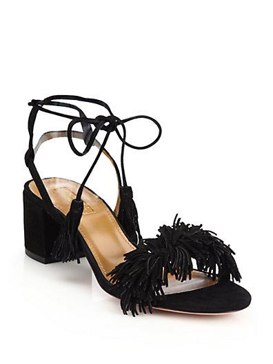 Aquazzura Wild Thing Fringed Suede Sandals In Black
