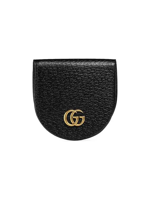 Gucci Gg Marmont Grained-leather Coin Purse In Black