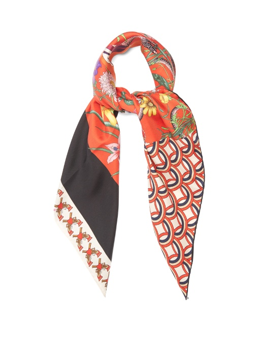 Gucci - Patchwork Print Silk Twill Scarf - Womens - Red Multi