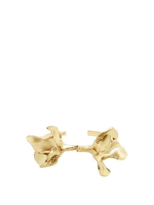 Valentino 3-d Flower Metal Cuff In Gold